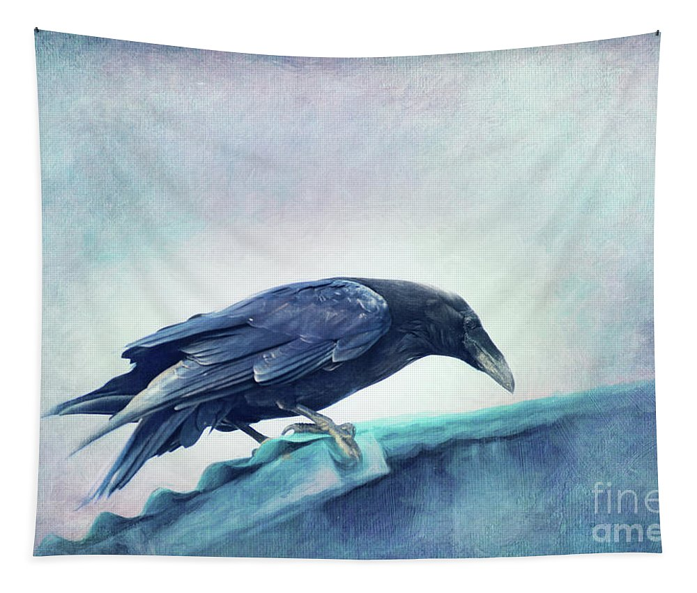 Raven Tapestry featuring the photograph Mr. Bluebird by Priska Wettstein