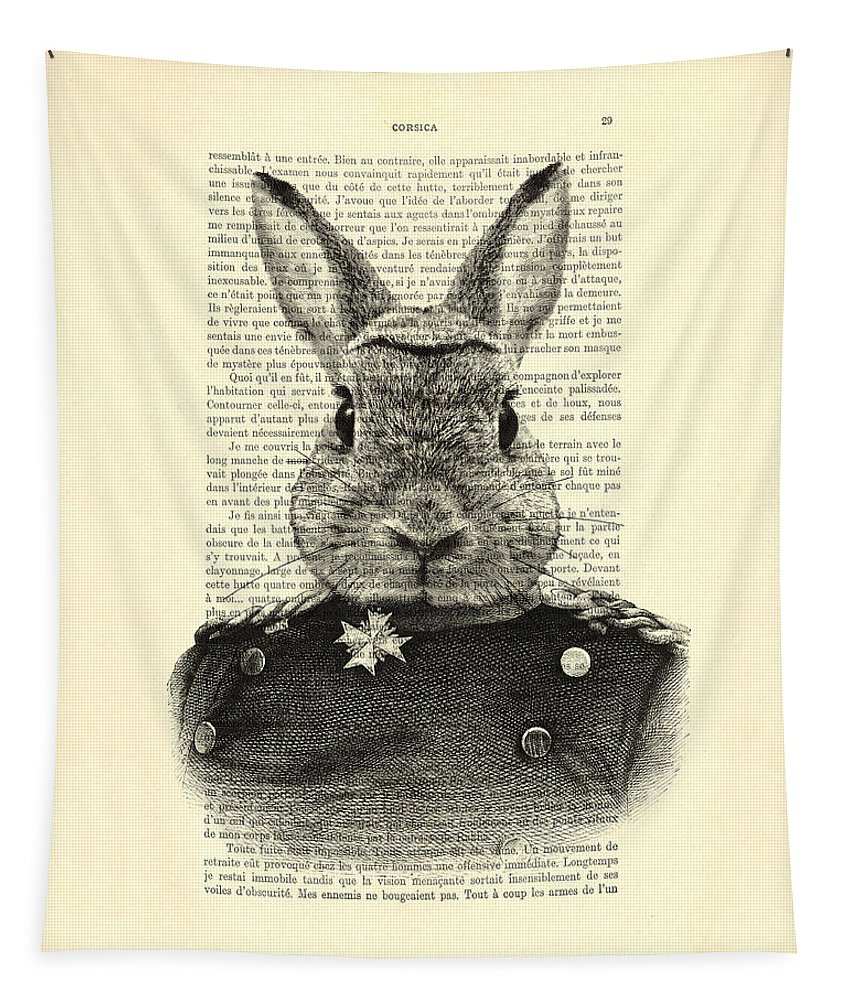 Rabbit Print Tapestry featuring the digital art Rabbit Portrait In A Suit by Madame Memento