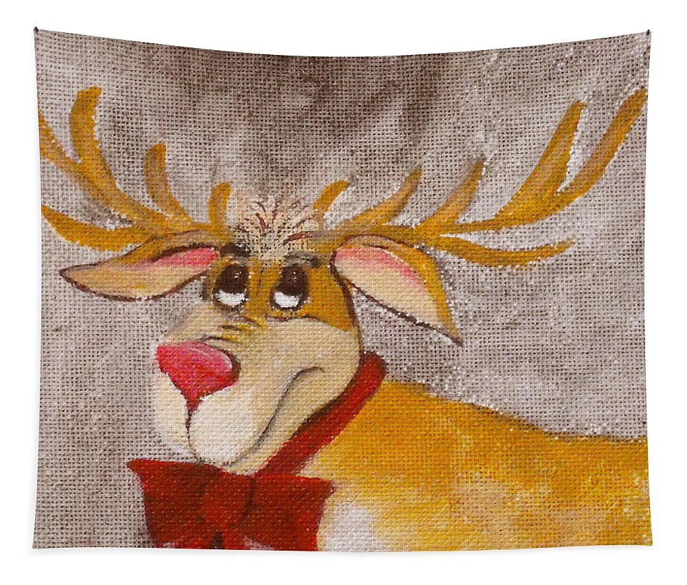 Animals Tapestry featuring the painting Mr Reindeer by Ruth Palmer
