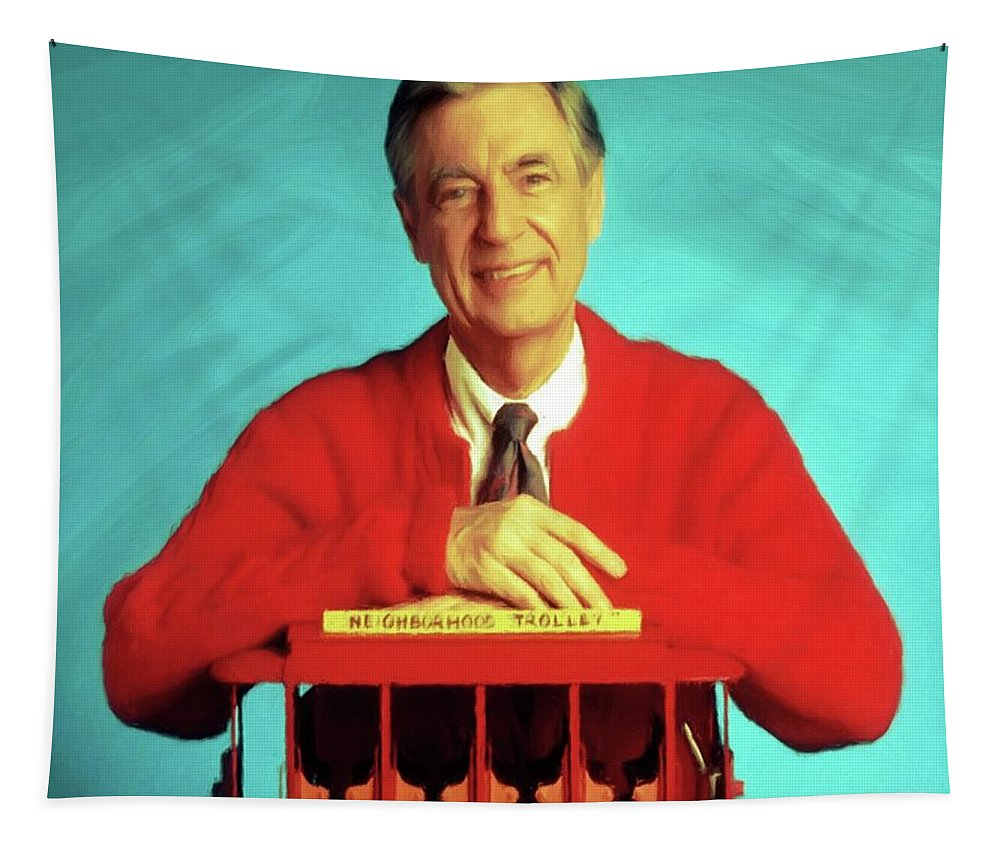 Mr Rogers Tapestry featuring the mixed media Mr Rogers With Trolley by Movie Poster Prints