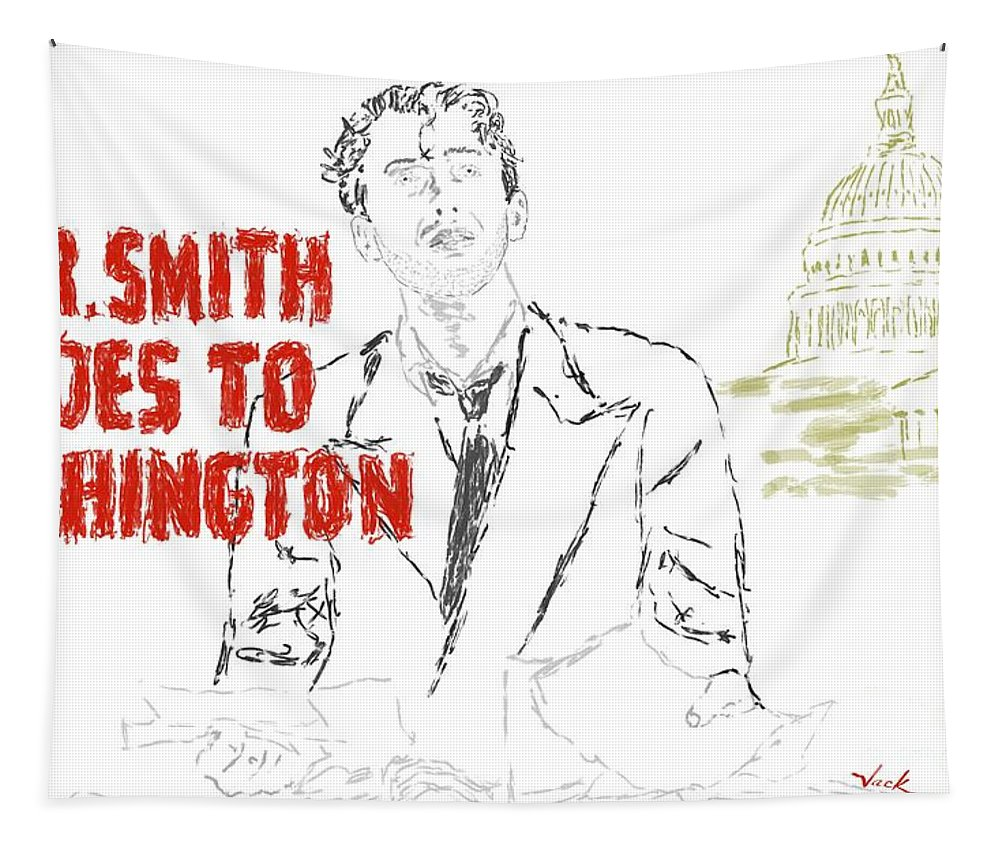 Mr Smith Goes To Washington Tapestry featuring the painting Mr Smith Goes To Washington by Jack Bunds