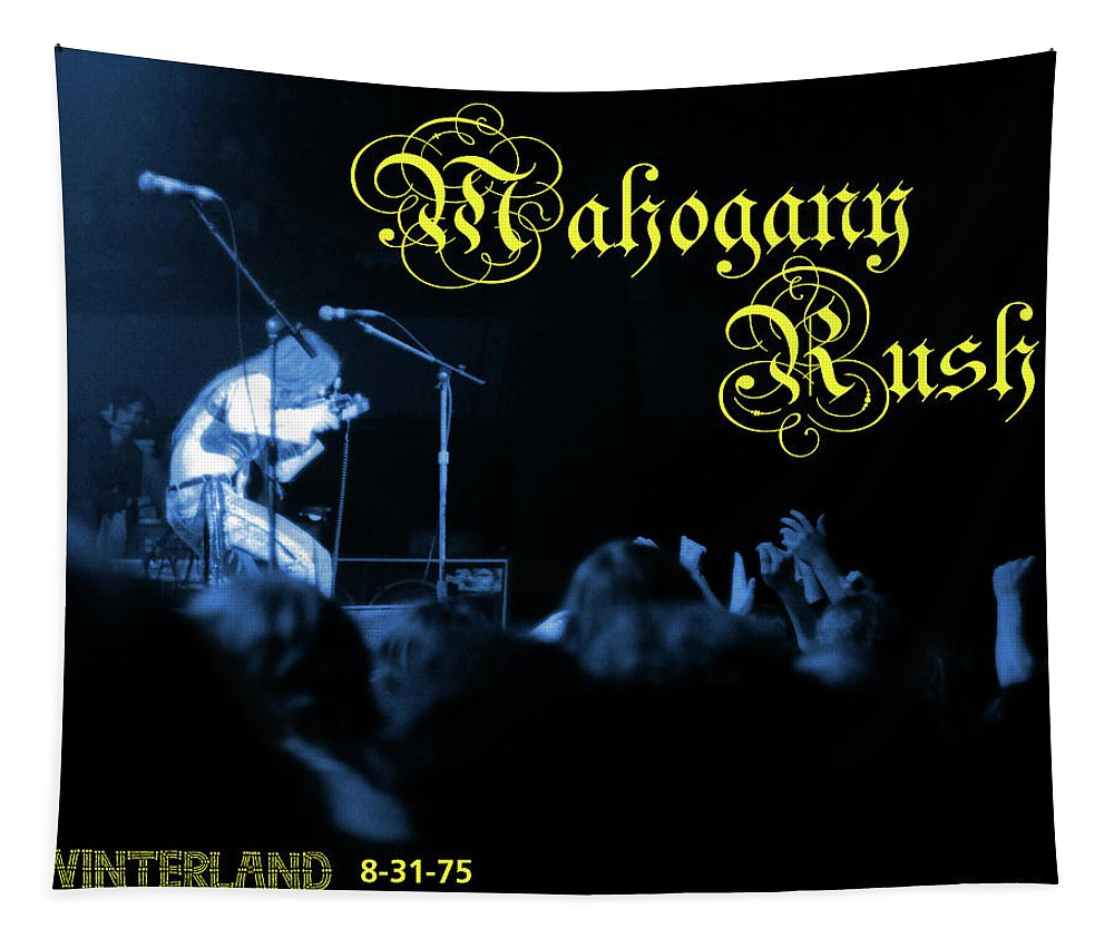 Music Tapestry featuring the photograph Mrwint75 #27 Crop 3 In Blue With Text 2 by Ben Upham