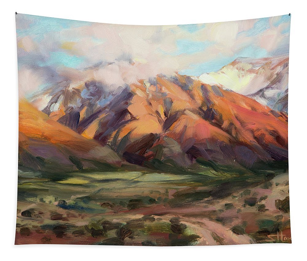 Mountains Clouds Tapestry featuring the painting Mt Nebo Range by Steve Henderson