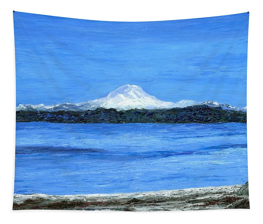 Volcano Tapestry featuring the painting Mt. Rainier by Alice Faber