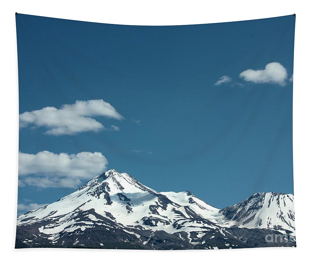 Cloud Tapestry featuring the photograph Mt Shasta With Heart-shaped Cloud by Carol Groenen