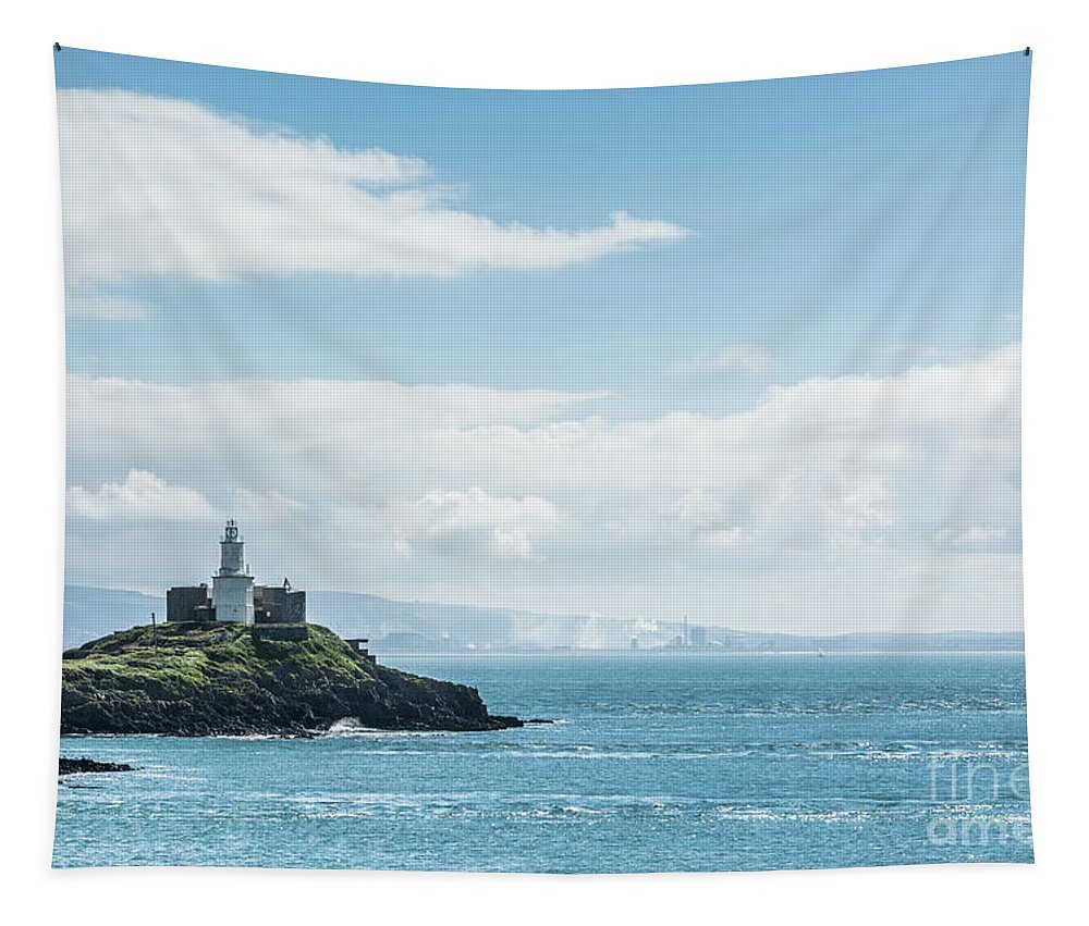 Mumbles Lighthouse Tapestry featuring the photograph Mumbles Lighthouse 2 by Steve Purnell