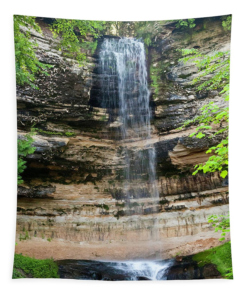 Munising Falls Tapestry featuring the photograph Munising Falls by Phyllis Taylor
