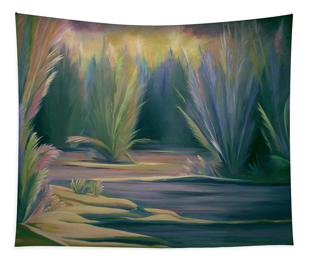 Feathers Tapestry featuring the painting Mural Field Of Feathers by Nancy Griswold