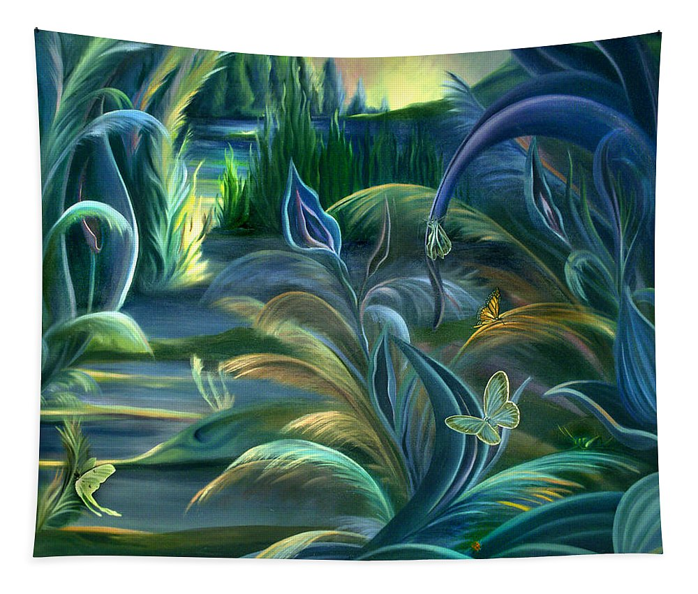 Mural Tapestry featuring the painting Mural Insects Of Enchanted Stream by Nancy Griswold