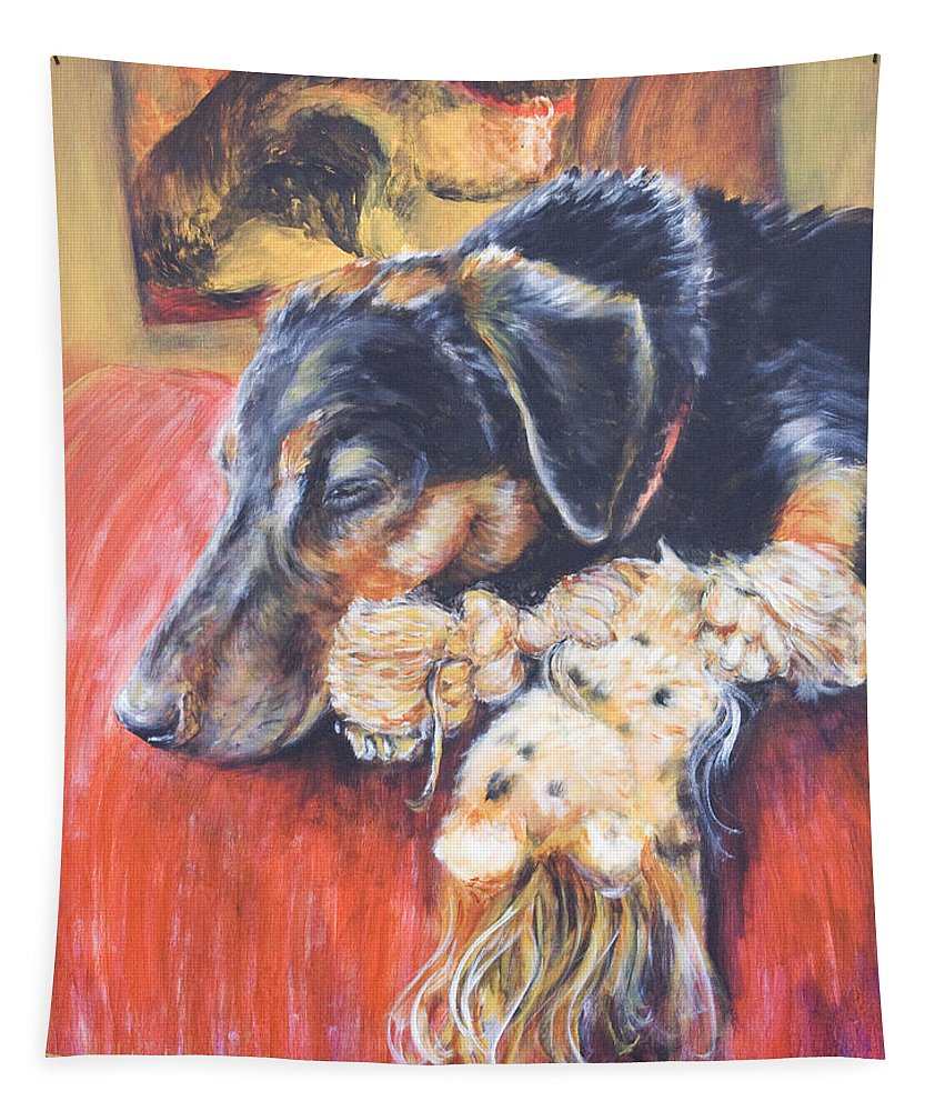 Dog Tapestry featuring the painting Murphy VIII by Nik Helbig