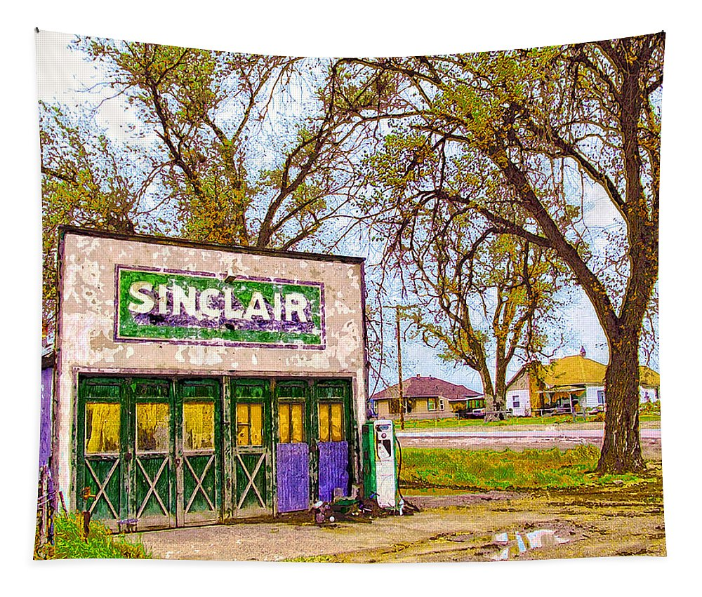 Sinclar Gasoline Tapestry featuring the mixed media Murphy's Garage by Dominic Piperata