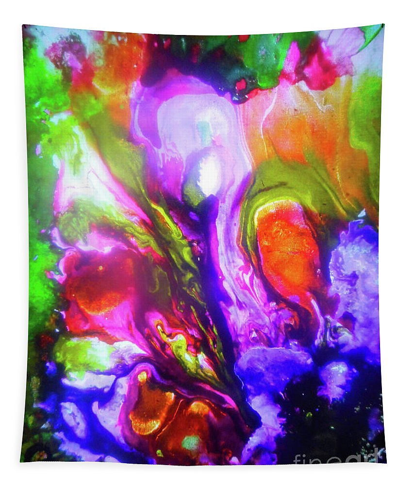 Abstract Tapestry featuring the painting Mushrooms by Elle Justine