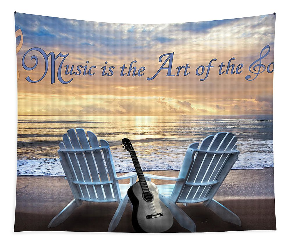 Clouds Tapestry featuring the photograph Music Is The Art Of The Soul by Debra and Dave Vanderlaan