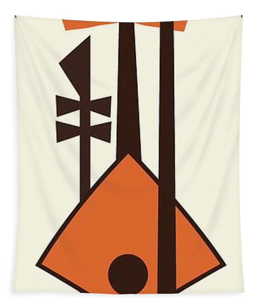Mid Century Modern Tapestry featuring the digital art Musical Instruments 2 by Donna Mibus