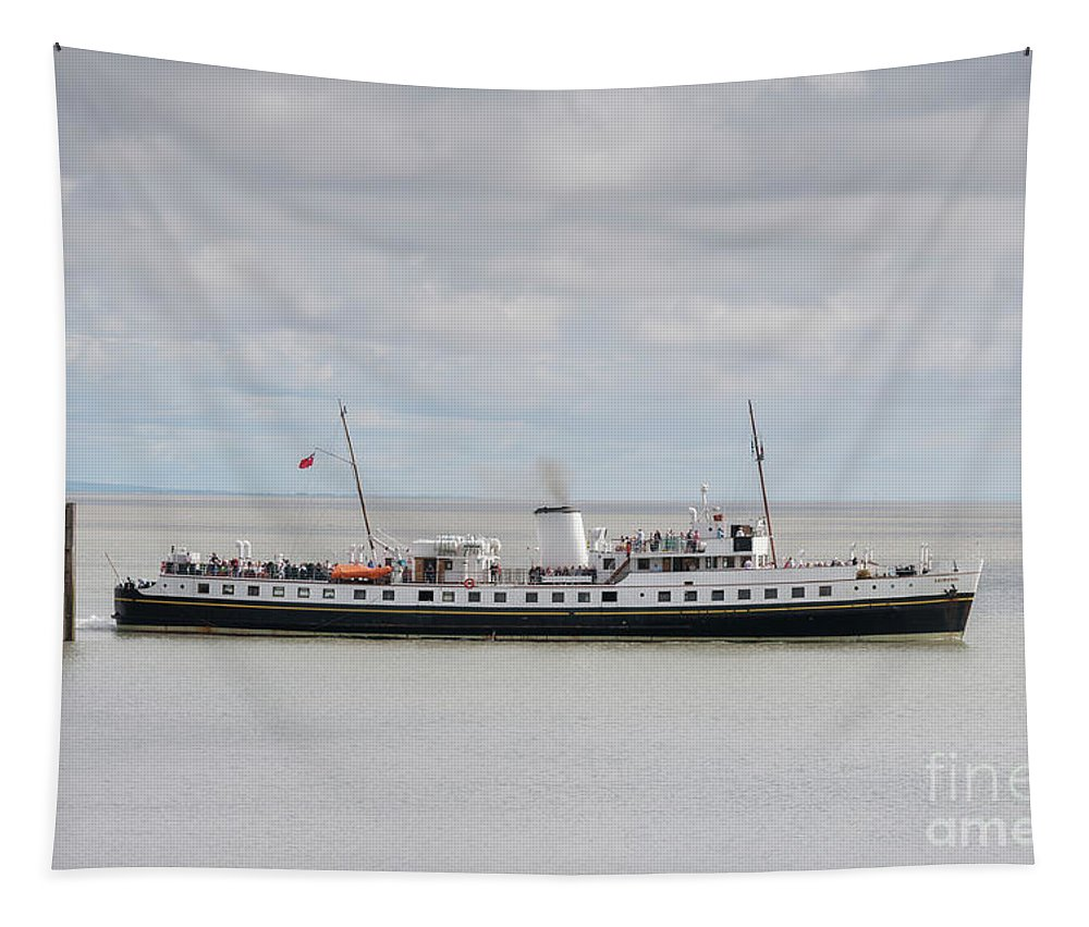 Mv Balmoral Tapestry featuring the photograph Mv Balmoral Leaves Penarth Pier by Steve Purnell
