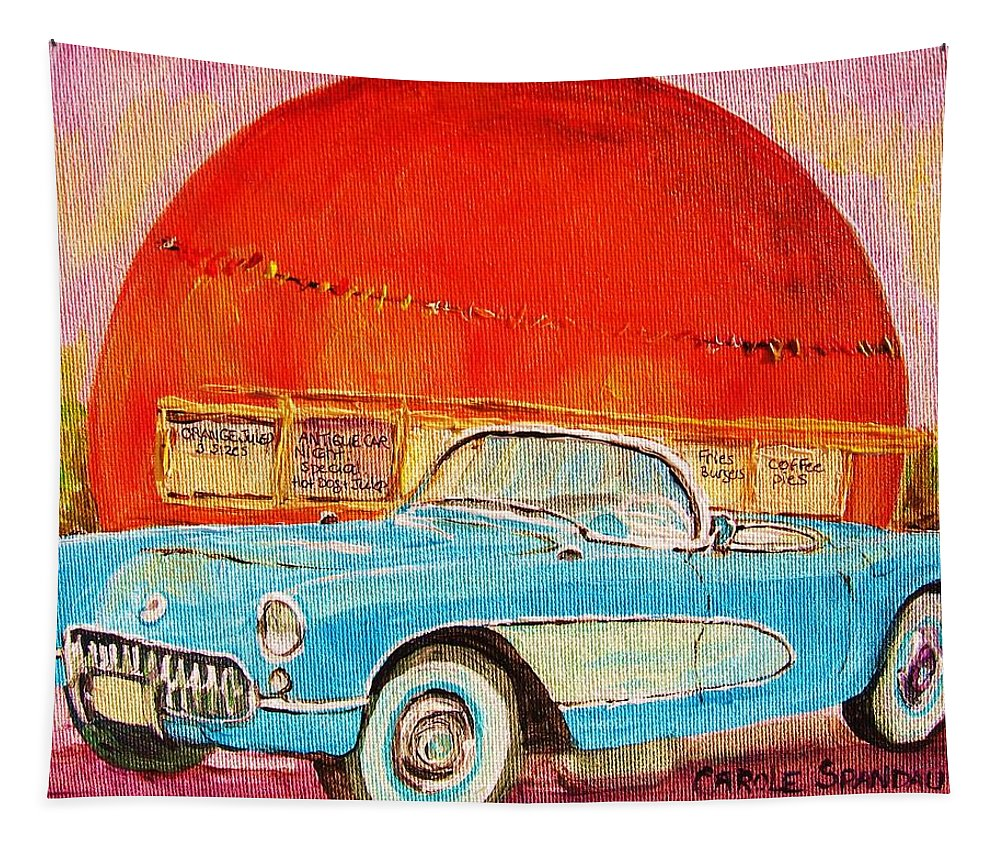 Montreal Tapestry featuring the painting My Blue Corvette At The Orange Julep by Carole Spandau