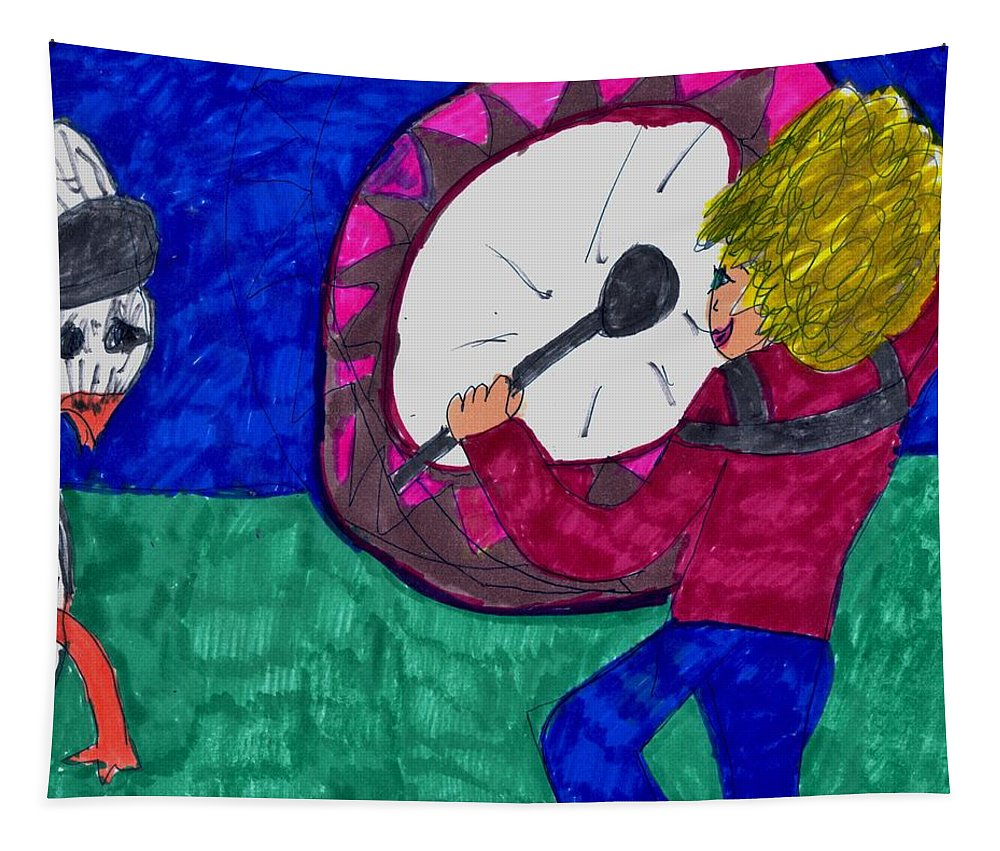A Goose Is The Child's Fan Tapestry featuring the mixed media My Fan by Elinor Helen Rakowski