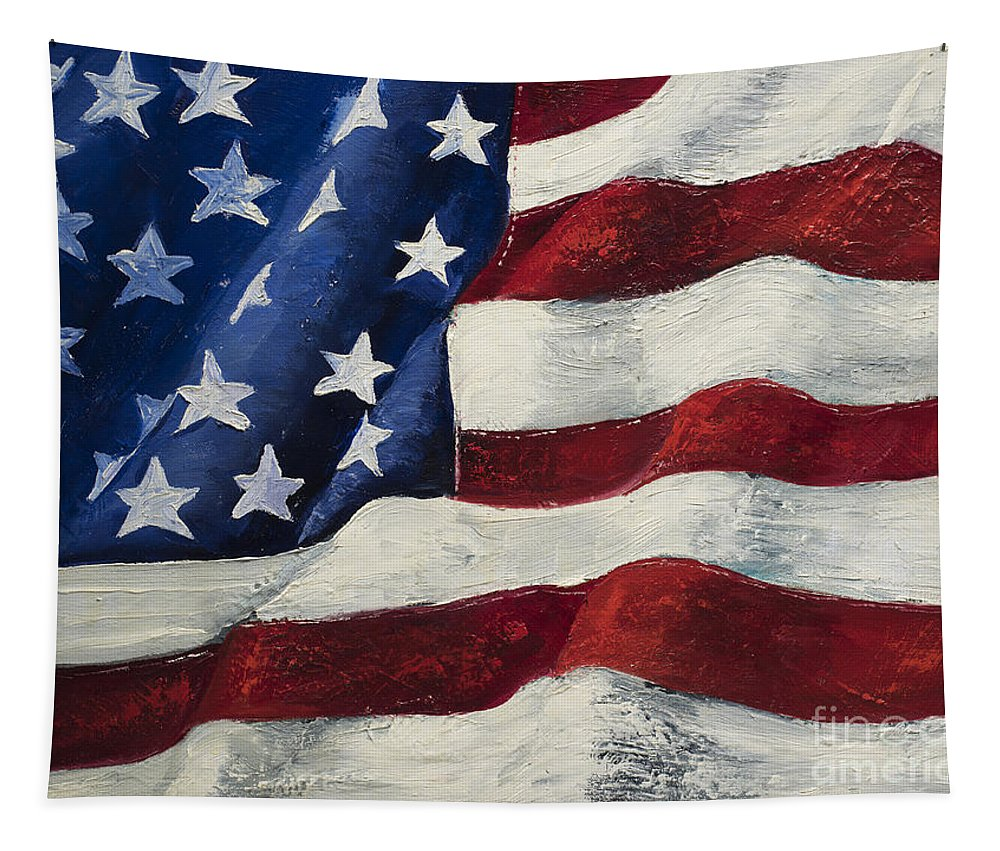 American Flag Tapestry featuring the painting My Flag by Jodi Monahan