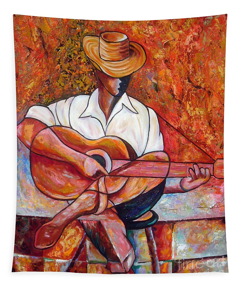 Cuba Art Tapestry featuring the painting My Guitar by Jose Manuel Abraham