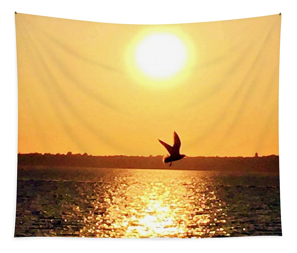Sunset Tapestry featuring the photograph My Injured Friend by Laurie Cairone
