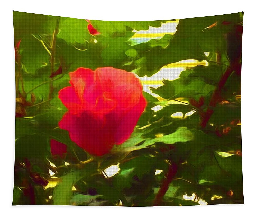 Flowers Tapestry featuring the mixed media My Love Is Like A Red Red Rose Of Sharon by Debra Lynch