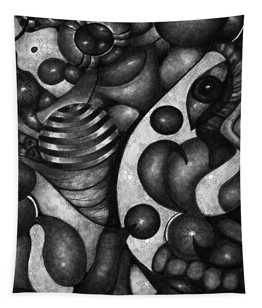 Black And White Semi Abstract Wall Art Tapestry featuring the mixed media My Mind's Eye by Laurie's Intuitive