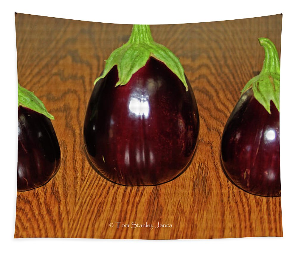 My Three Eggplant Fruits Tapestry featuring the photograph My Three Eggplant Fruits by Tom Janca