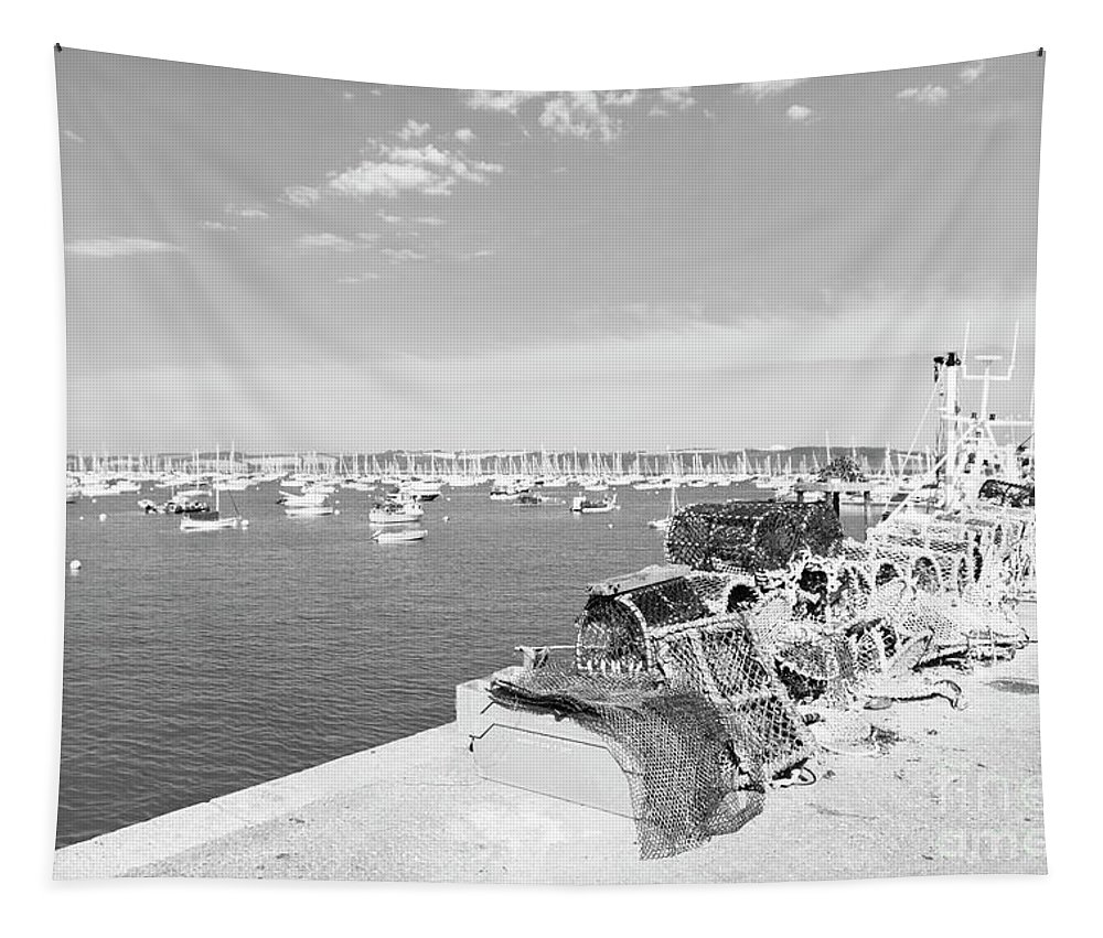Mylor Tapestry featuring the photograph Mylor Quay In Cornwall Monochrome by Terri Waters