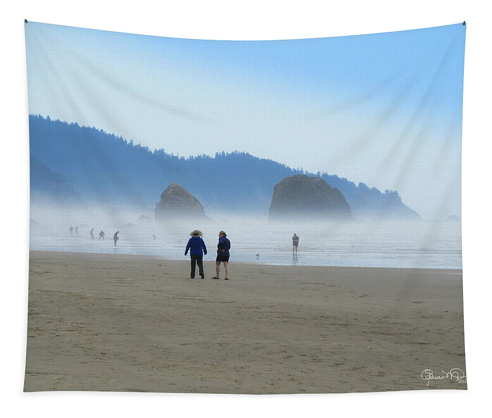 Susan Molnar Tapestry featuring the photograph Mysterious Morn On Cannon Beach by Susan Molnar