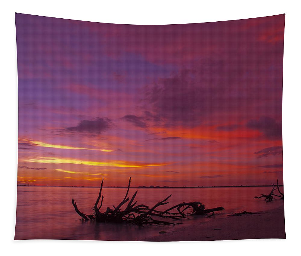Usa Tapestry featuring the photograph Mysterious Sunset by Melanie Viola