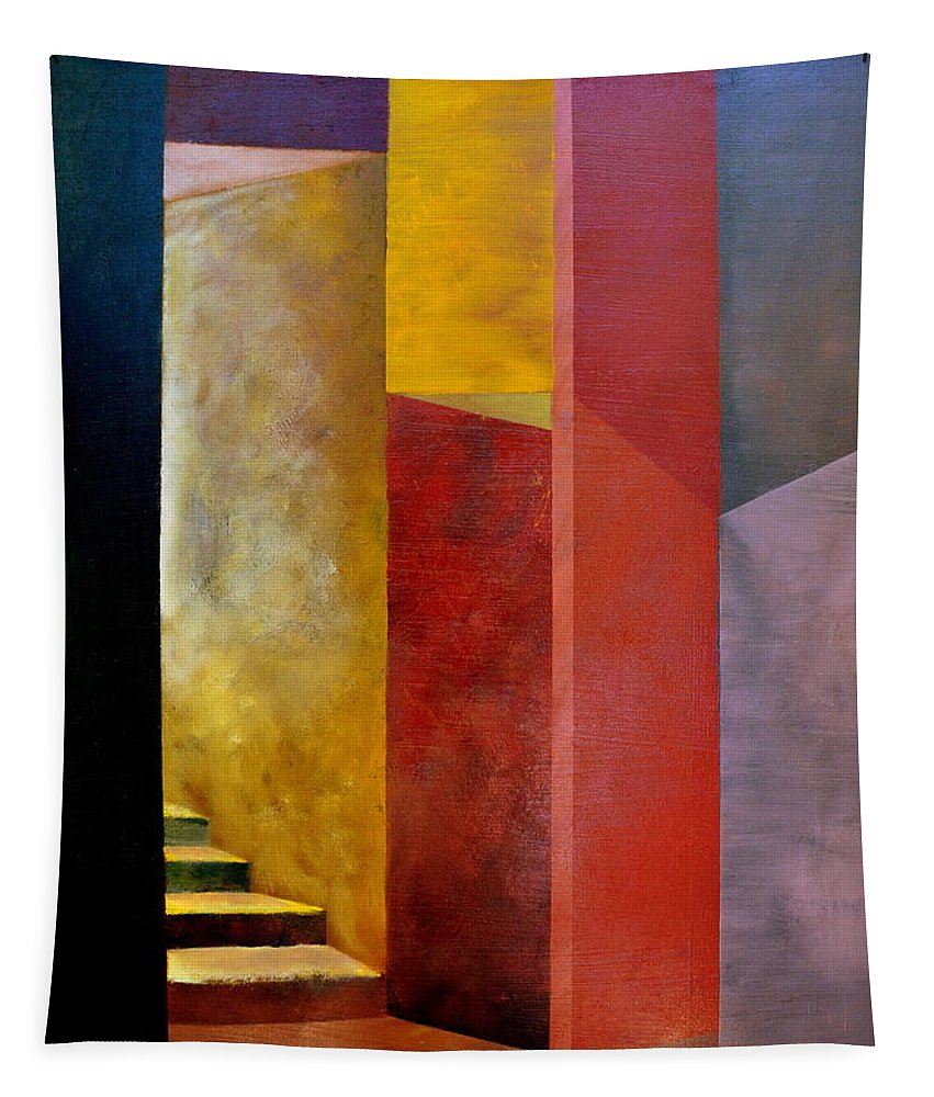 Gold Tapestry featuring the painting Mystery Stairway by Michelle Calkins