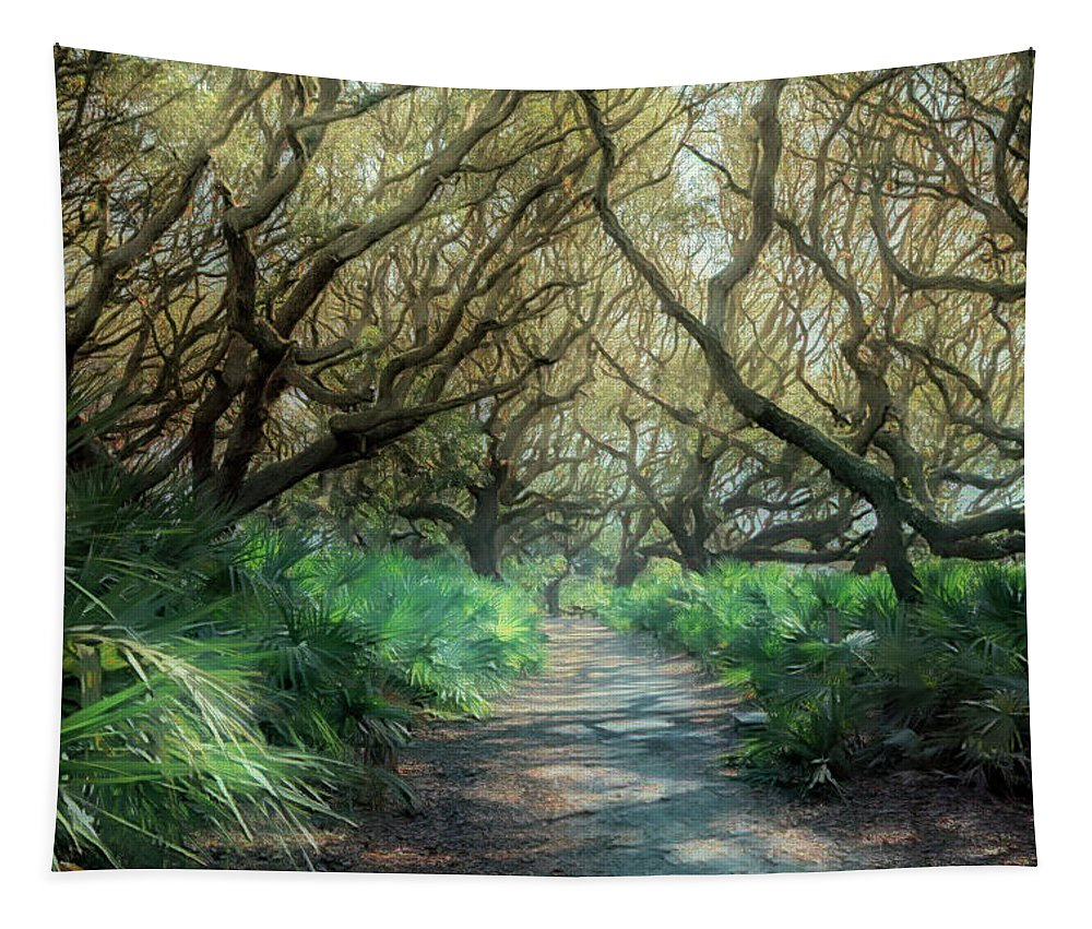 Florida Tapestry featuring the photograph Mystical Angel Oaks by Debra and Dave Vanderlaan