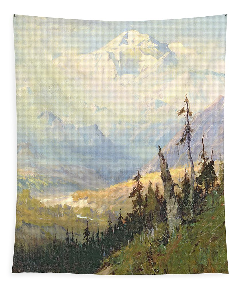 Alaska Tapestry featuring the painting An Autumn Day, Mt Mckinley by Sidney Laurence