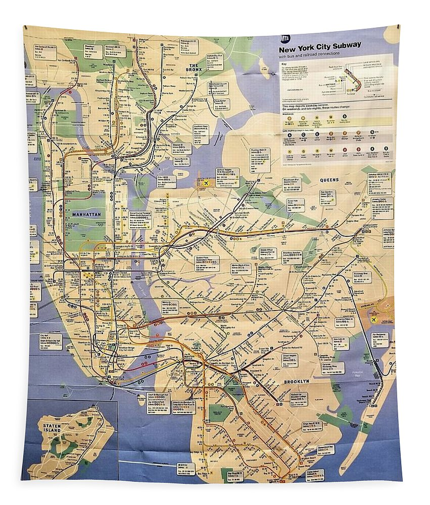 New York City Tapestry featuring the photograph N Y C Subway Map by Rob Hans