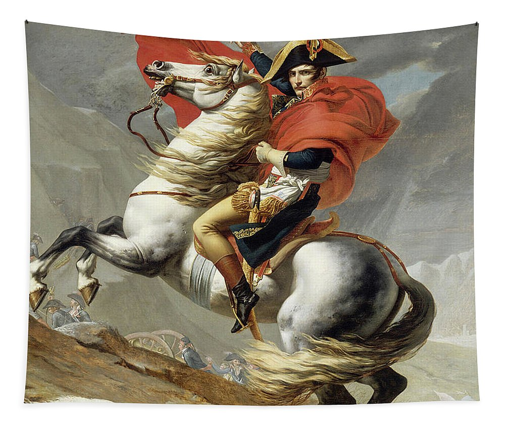 Napoleon Crossing The Alps Tapestry featuring the painting Napoleon Crossing The Alps, Jacques Louis David, From The Original Version Of This Painting by Thomas Pollart