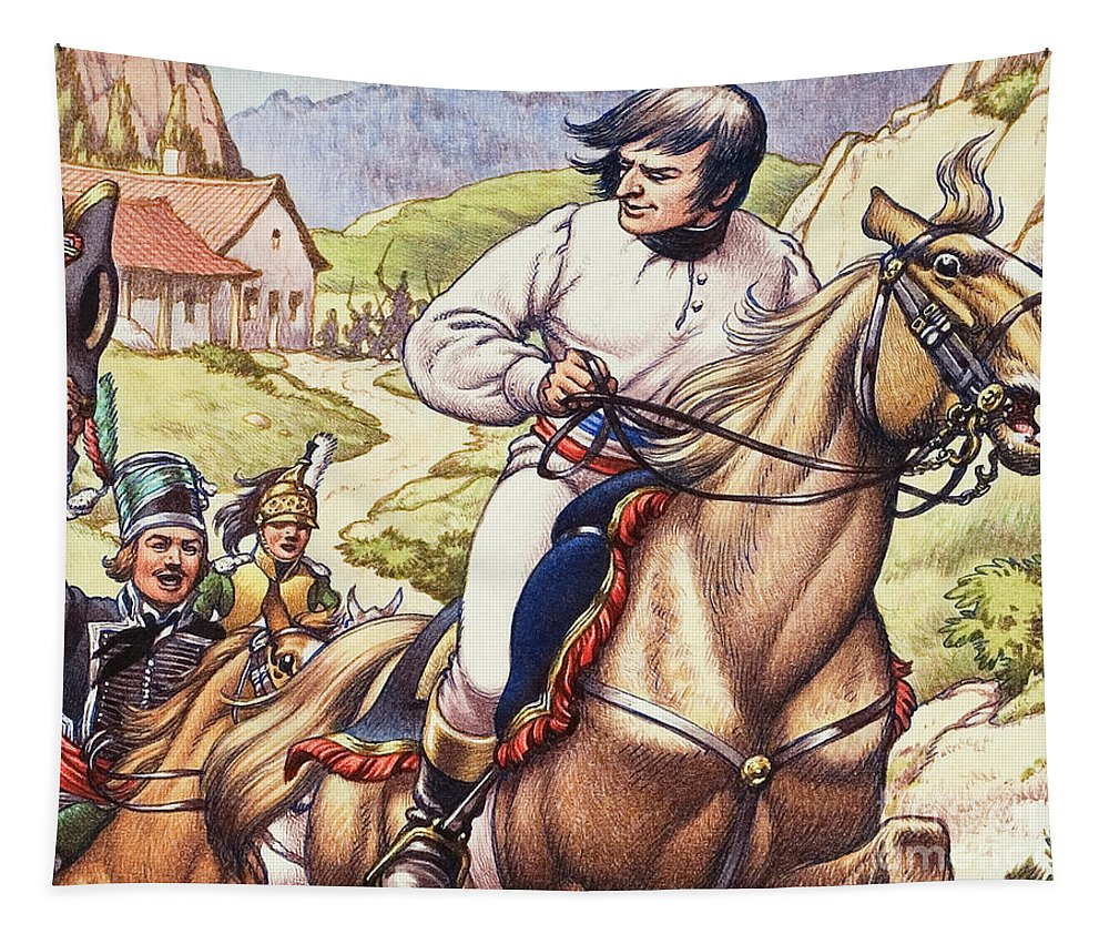 Napoleon Tapestry featuring the painting Napoleon Making A Narrow Escape With An Austrian Cavalry Patrol Close On His Heels by Pat Nicolle