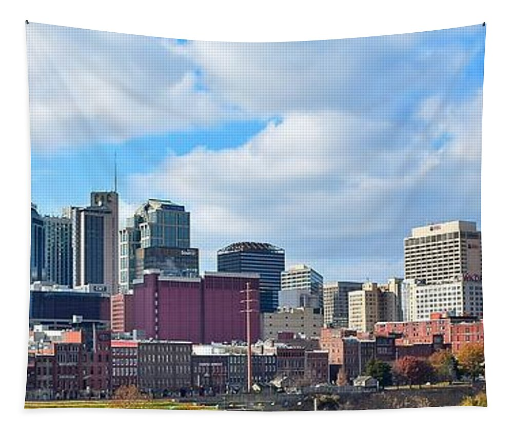 Nashville Tapestry featuring the photograph Nashville Panorama View by Frozen in Time Fine Art Photography