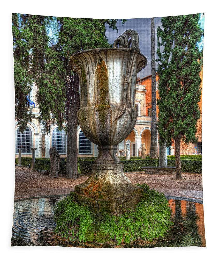 Fountain Tapestry featuring the photograph National Roman Museum by Darin Williams
