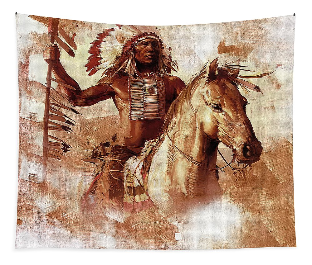 Chief Tapestry featuring the painting Native American 093201 by Gull G