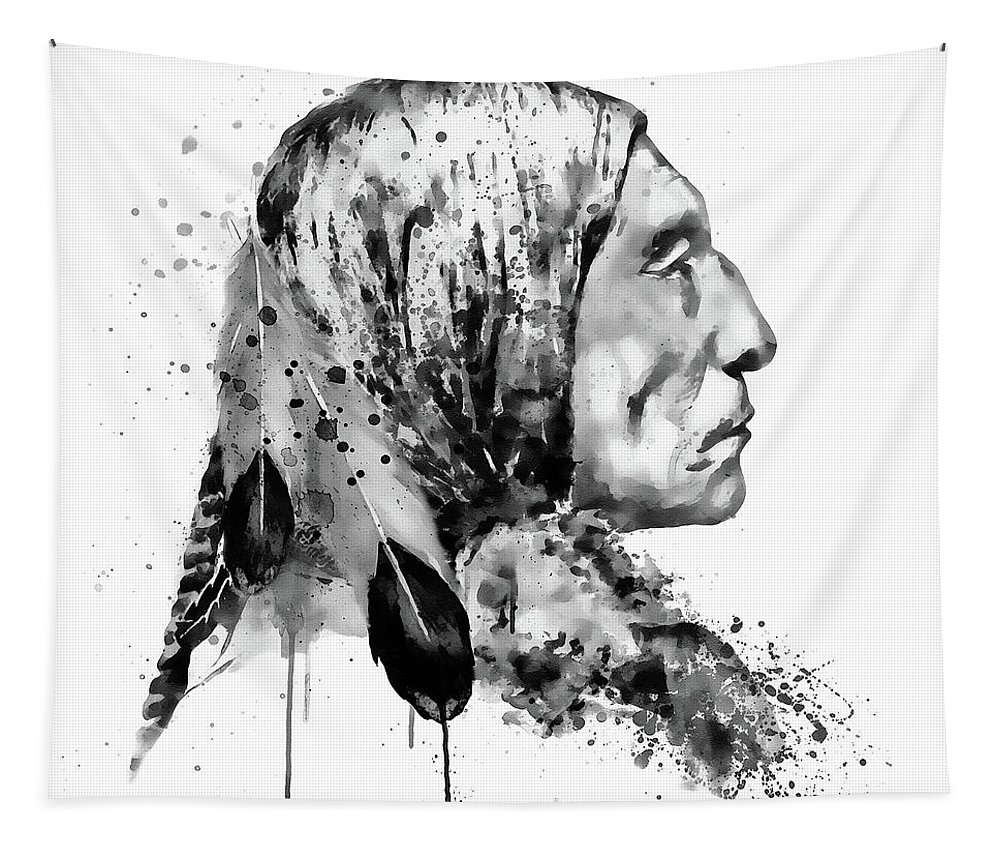 Native american side face black and white tapestry