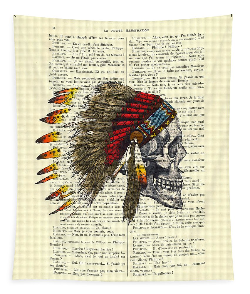 Native American Tapestry featuring the digital art Native American Skull by Madame Memento