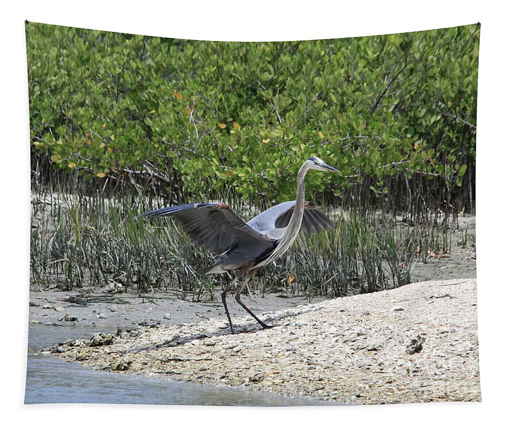 Blue Heron Tapestry featuring the photograph Nature In Florida by Deborah Benoit