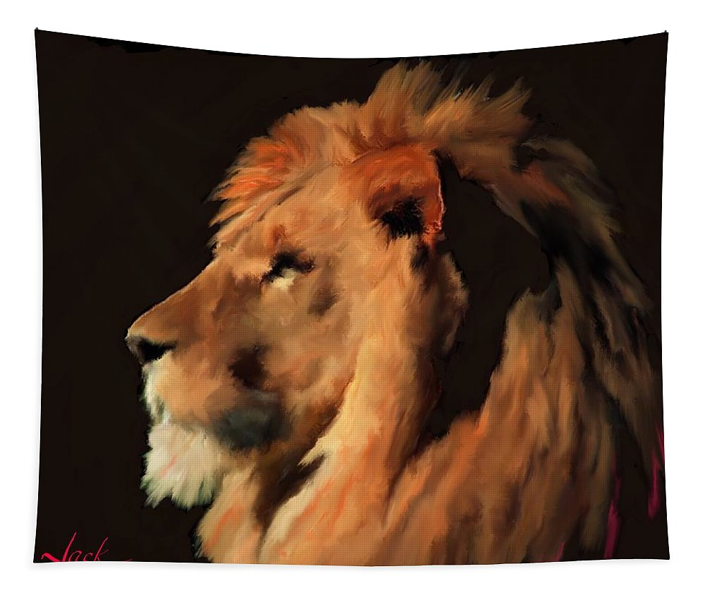 Lion Tapestry featuring the painting Nature's King by Jack Bunds