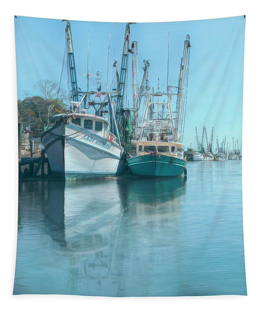 Boats Tapestry featuring the photograph Nautical Aquas At The Harbor by Debra and Dave Vanderlaan