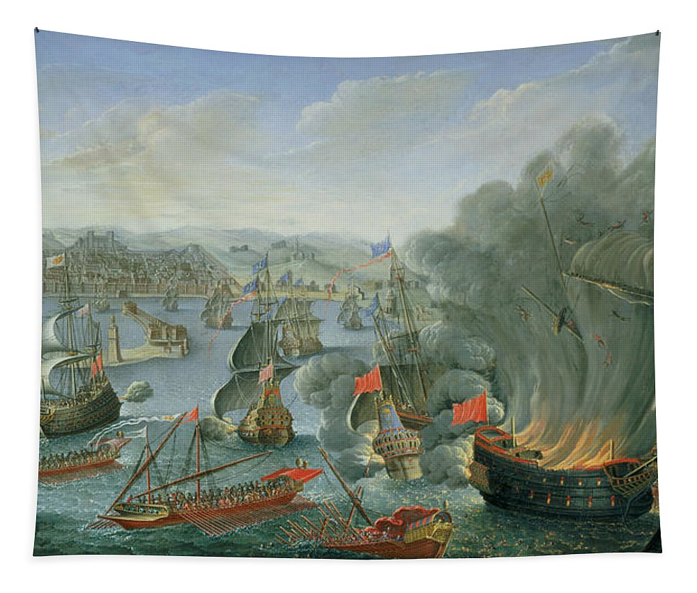 Naval Tapestry featuring the photograph Naval Battle With The Spanish Fleet by Pierre Puget
