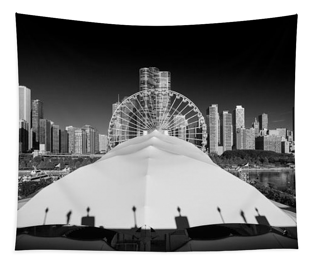 Navy Tapestry featuring the photograph Navy Pier Wheel by Steve Gadomski