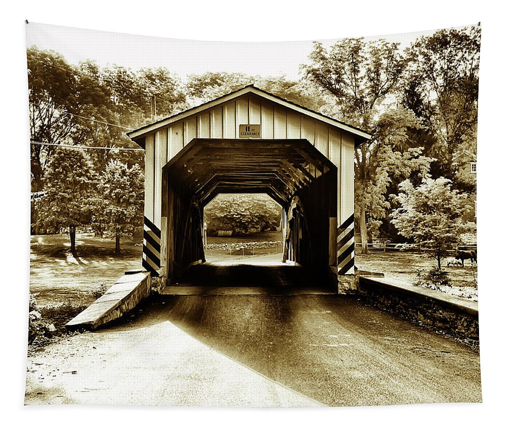 Neff's Tapestry featuring the photograph Neff's Mill Covered Bridge - Lancaster County Pa. by Bill Cannon