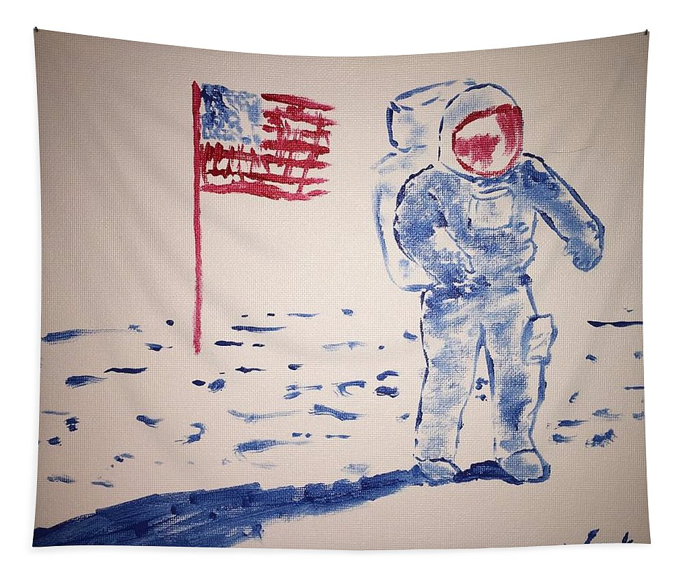 Neil Armstrong Tapestry featuring the painting Neil Armstrong by Jack Bunds