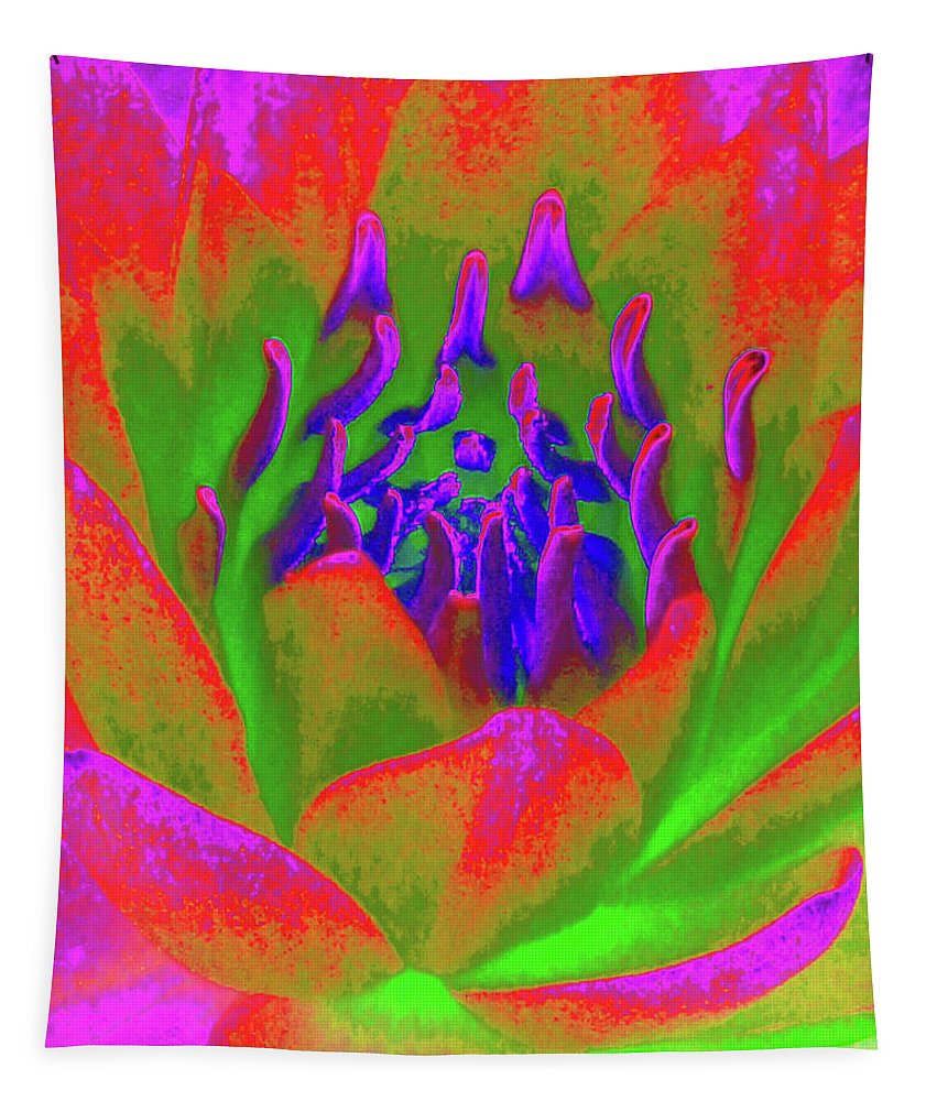 Water Lily Tapestry featuring the photograph Neon Water Lily 02 - Photopower 3371 by Pamela Critchlow