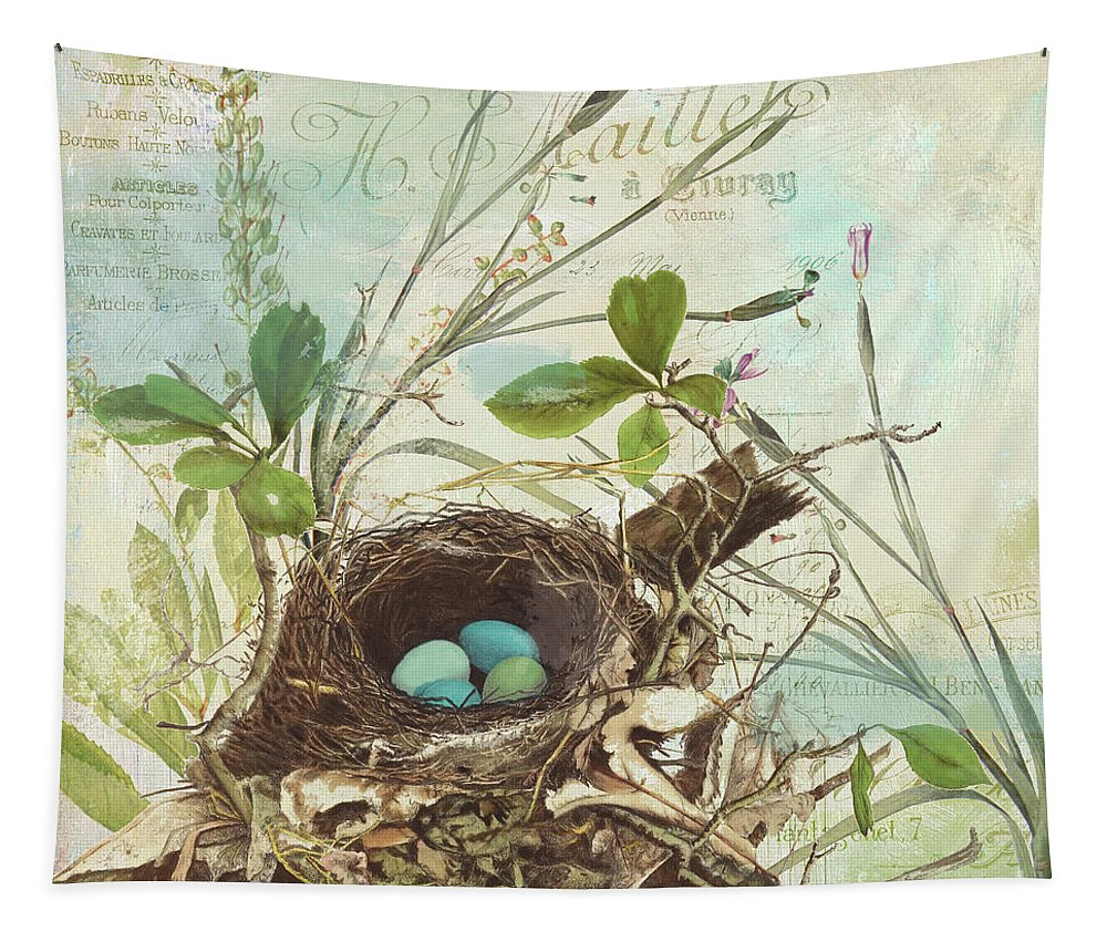 Bird Nest Tapestry featuring the painting Nesting I by Mindy Sommers